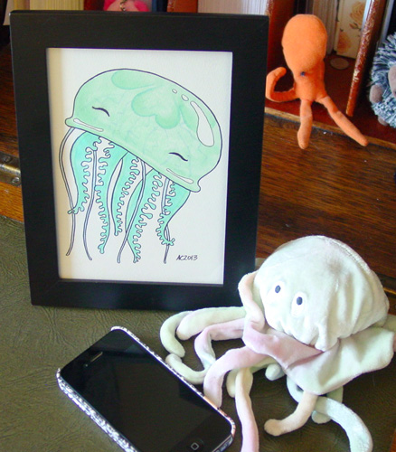 Happy Jelly, framed art by Amy Crook