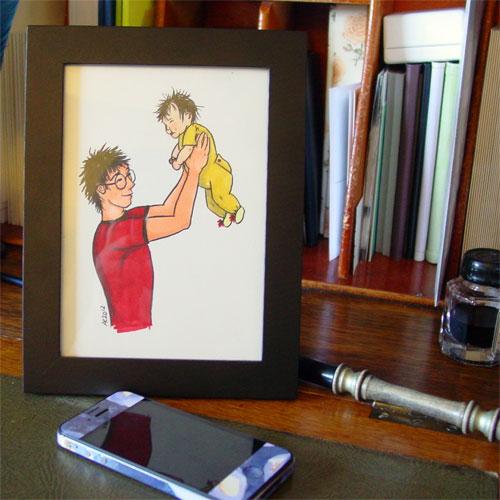 Potterly Love, framed art by Amy Crook