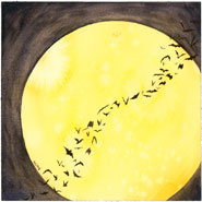 image of bats flying across a full harvest moon, watercolor by Amy Crook