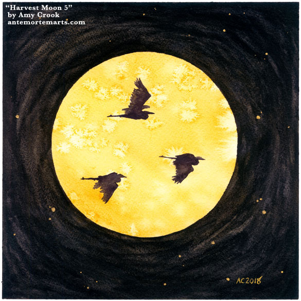 Harvest Moon 5 by Amy Crook, a watercolor painting of three herons flying in silhouette against a golden full moon