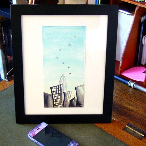 Hello City, framed art by Amy Crook