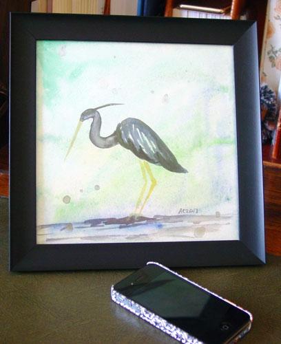 Heron, framed art by Amy Crook