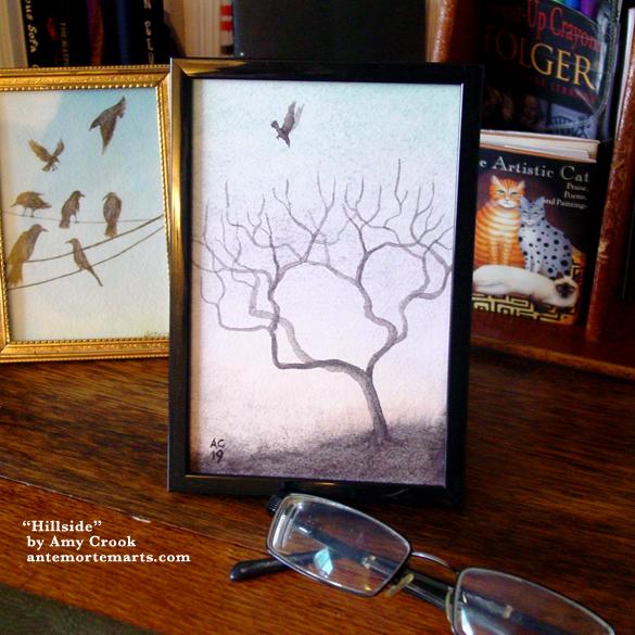 Hillside, framed art by Amy Crook