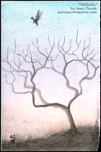 Hillside by Amy Crook, a mist-shrouded tree against a glowing sky with a stooping bird of prey overhead