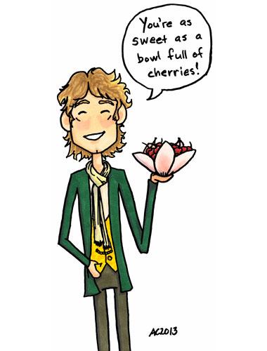 Hobbits Love Cherries, parody art by Amy Crook