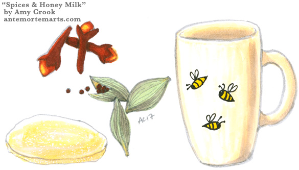 Cloves, Cardamom, Candied Ginger, and a Mug, illustration by Amy Crook