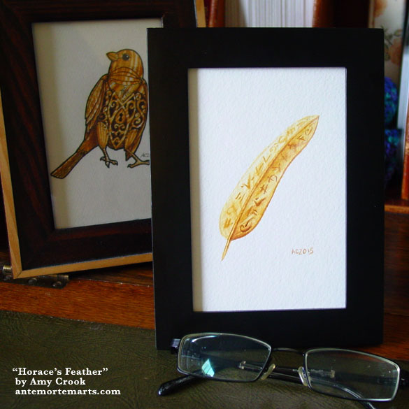 Horace's Feather, framed art by Amy Crook