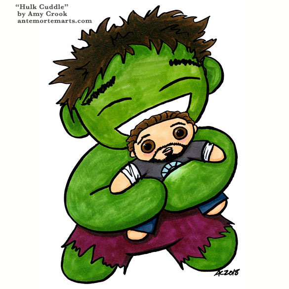 HULK CUDDLE by Amy Crook, a pen and marker cartoon of the hulk giving Tony Stark a very enthusiastic hug