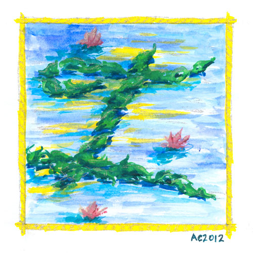 I is for Impressionism, calligraphic illumination by Amy Crook