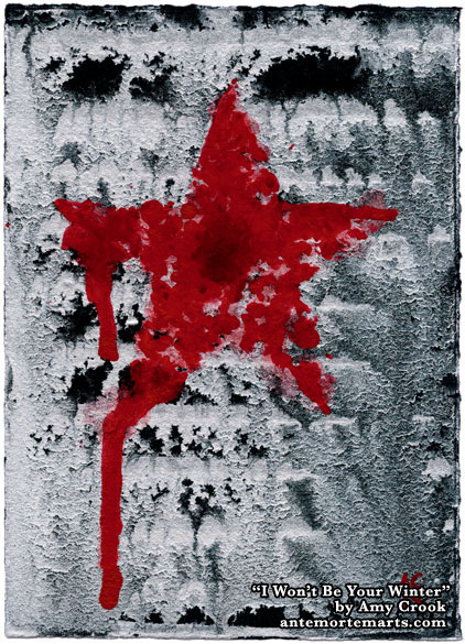 I Won't Be Your Winter by Amy Crook, a bloody red grafitti star against a silver and black backdrop