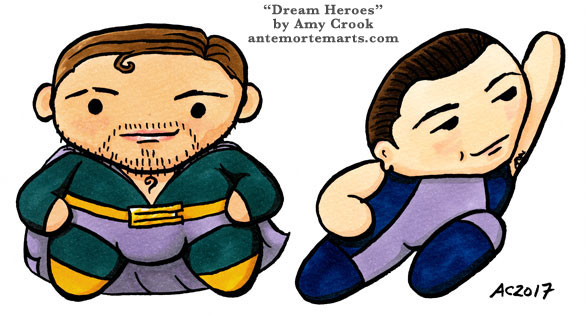 Dream Heroes, Inception chibi parody art by Amy Crook