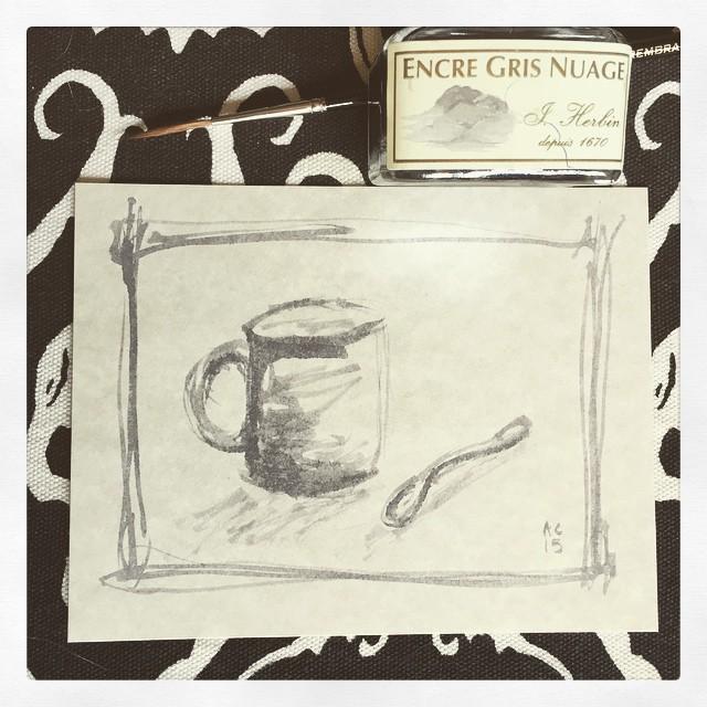 sketch in J. Herbin Gris Nuage ink by Amy Crook