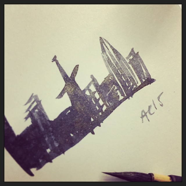 sketch in J. Herbin Stormy Grey ink by Amy Crook