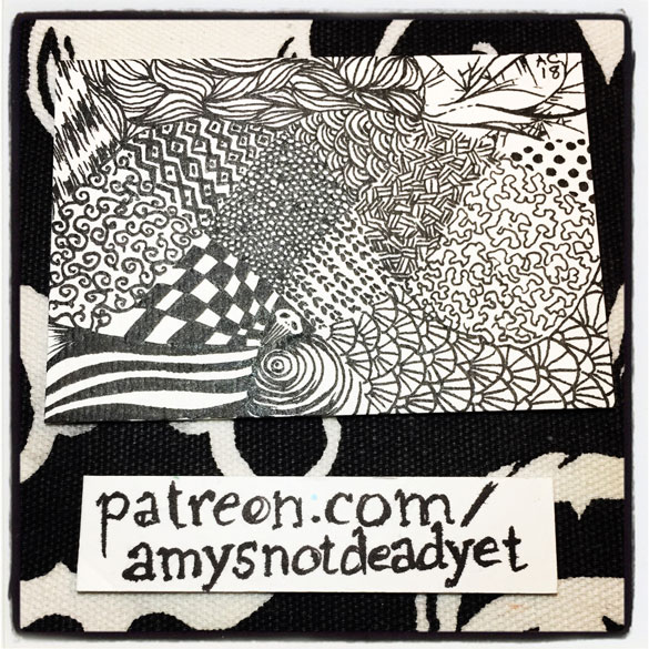 pen and ink drawing of patterns drawn in curved groupings
