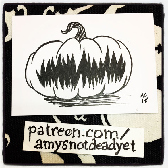 pen and ink drawing of a pumpkin with a big hungry mouth and no eyes