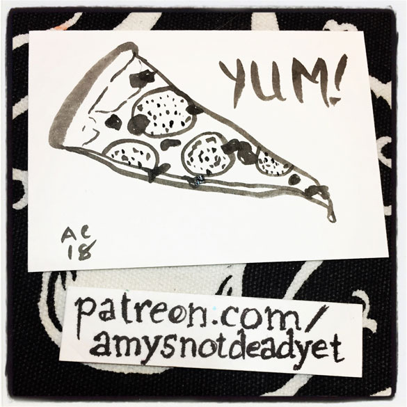 brush and ink drawing of a slice of pizza with the word YUM!