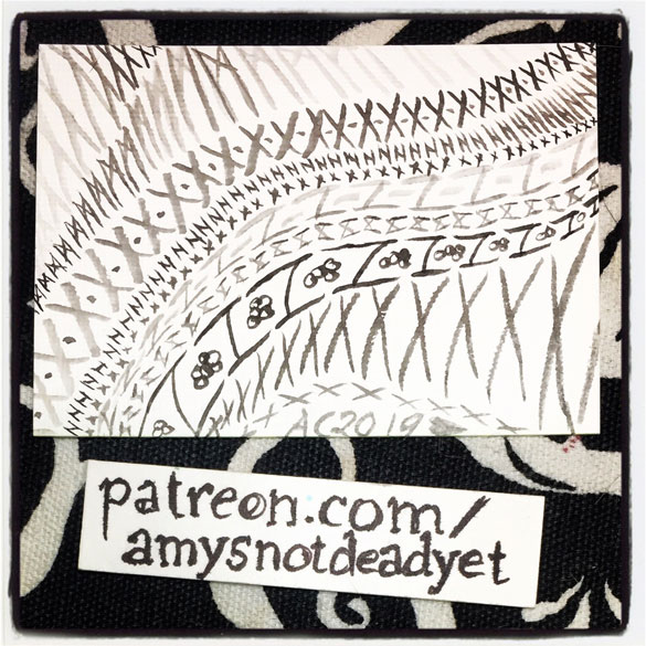 a series of repeated patterns in ink on an ACEO by Amy Crook