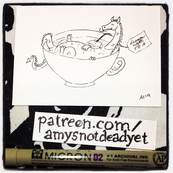 an ink drawing of a tiny dragon in a cup of dragonwell tea by Amy Crook