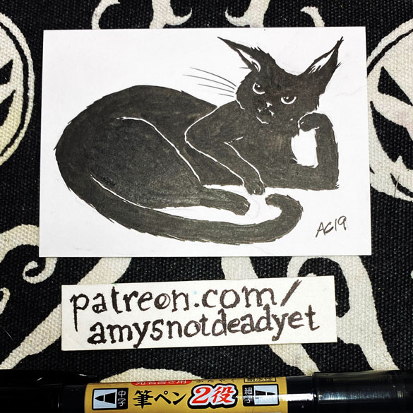 an ink drawing of a black cat in a sassy pose by Amy Crook