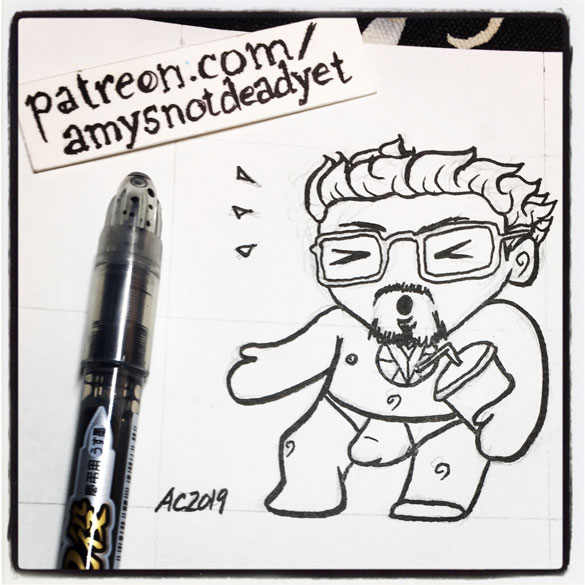 an ink drawing of Tony Stark with brain freeze by Amy Crook