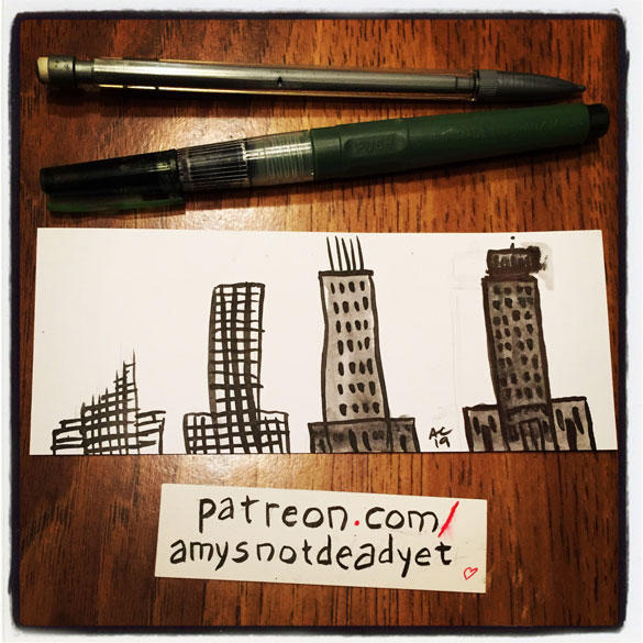an ink painting of a building in 4 stages being built by Amy Crook