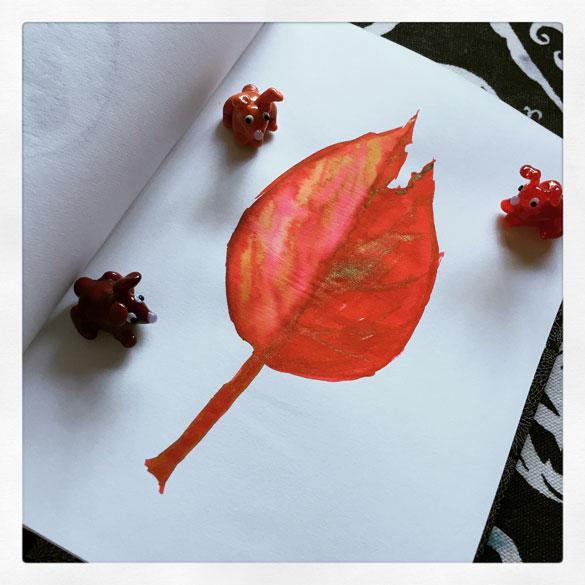 Day 28 - sketchy red leaf