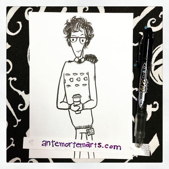 Inktober day 10: Q in a tea jumper having a London Fog (with bonus Andy), for Kim