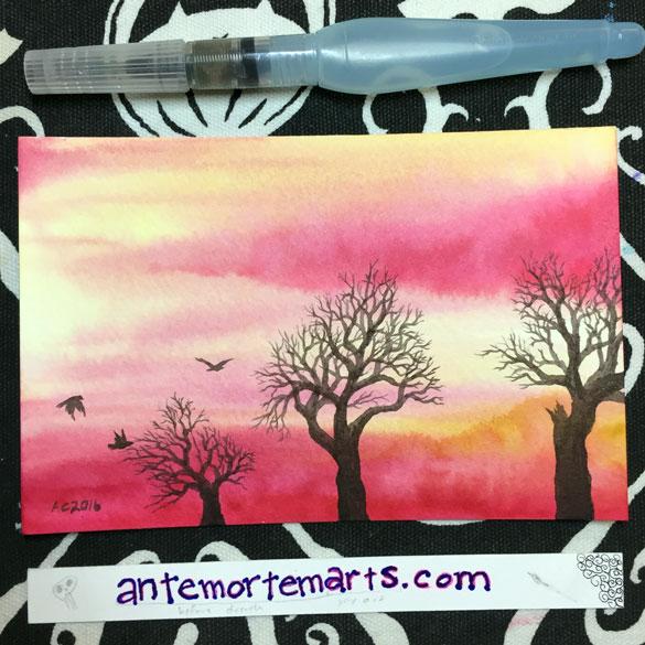 Inktober day 13: Pink Sunset