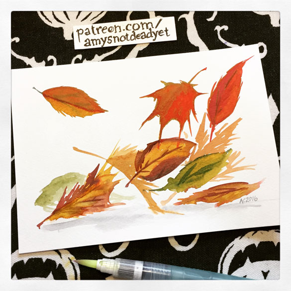Inktober day 17: autumn leaves for Kim