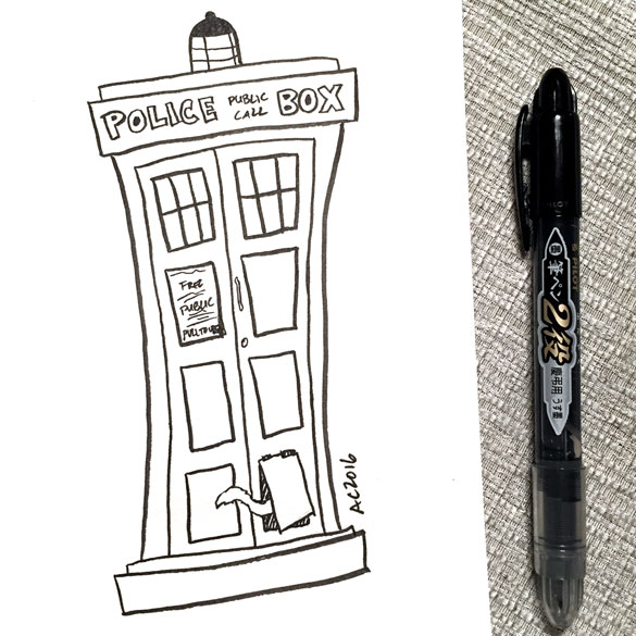 Inktober day 21: TARDIS with a cat flap for Eric