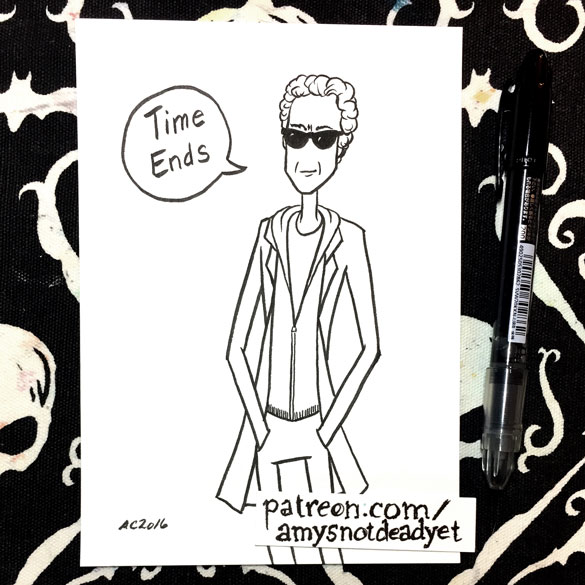 """Inktober day 31: Twelfth Doctor """"Time Ends"""" for Ian"""