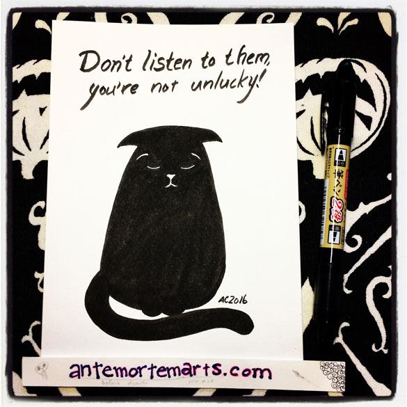 Inktober day 6: (not un)lucky black cat
