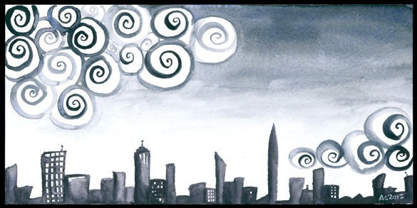 Insomnia City, watercolor by Amy Crook