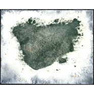 Island, abstract watercolor by Amy Crook in the Map series