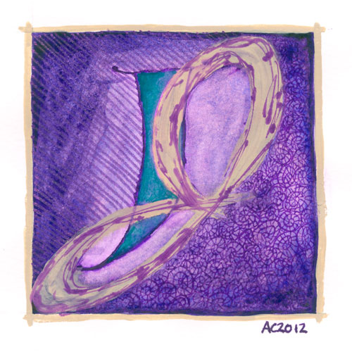 J is for Juxtapose, calligraphic illumination by Amy Crook