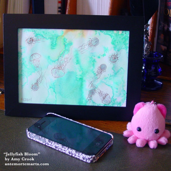Jellyfish Boom, framed art by Amy Crook