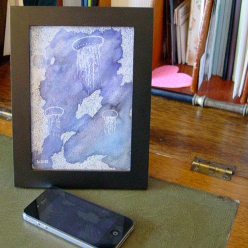 Jellyfish Deeps 2, framed art by Amy Crook