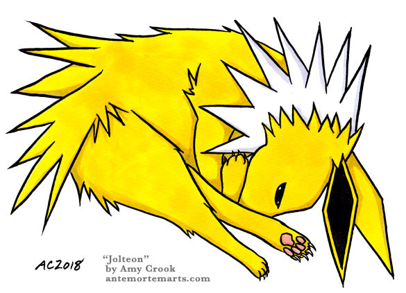 Jolteon by Amy Crook, a drawing of the Jolteon Pokemon curled up like a cat, glaring