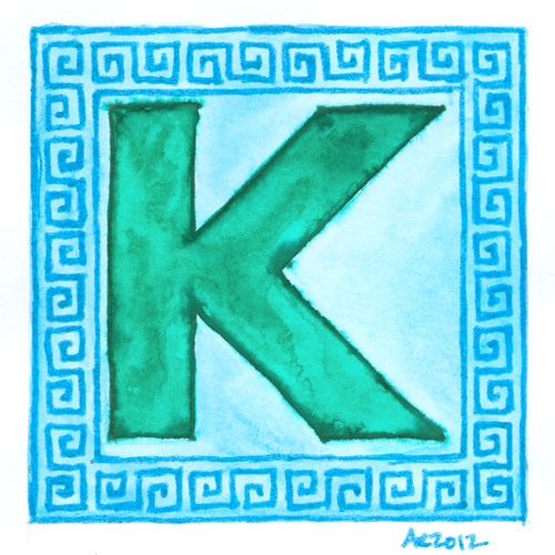 K is for Greek Key, calligraphic illumination by Amy Crook