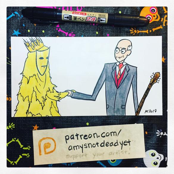 King in Yellow, meet King Crimson, Lovecraft parody fan art by Amy Crook