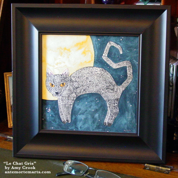 Le Chat Gris, framed art by Amy Crook
