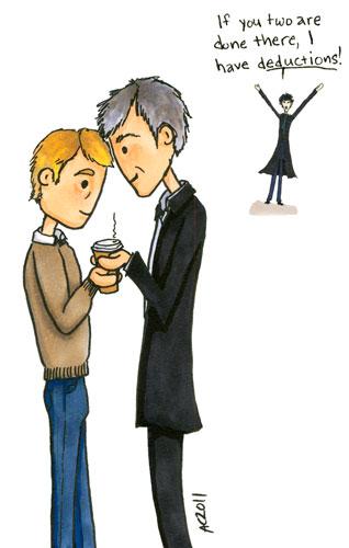 Sharing Warmth, Sherlock fan art by Amy Crook