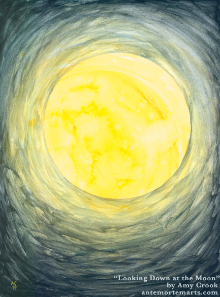 Looking Down at the Moon by Amy Crook, an abstract watercolor of a golden harvest moon on a blue background
