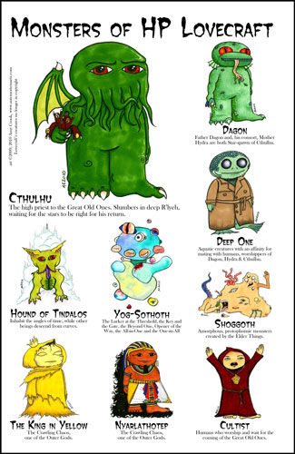 Monsters of HP Lovecraft Print by Amy Crook