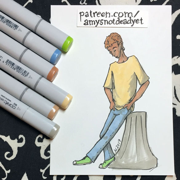 pastel guy sketch by Amy Crook