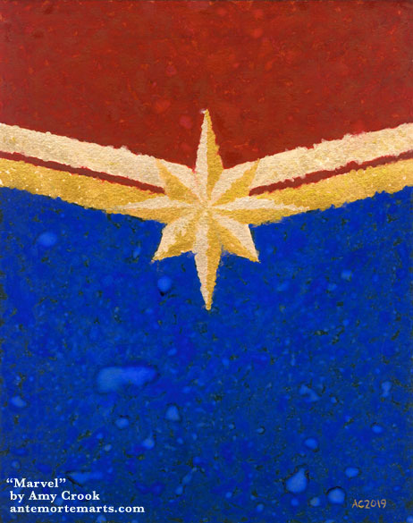 Marvel by Amy Crook, an abstract representation of Captain Marvel's logo because reasons