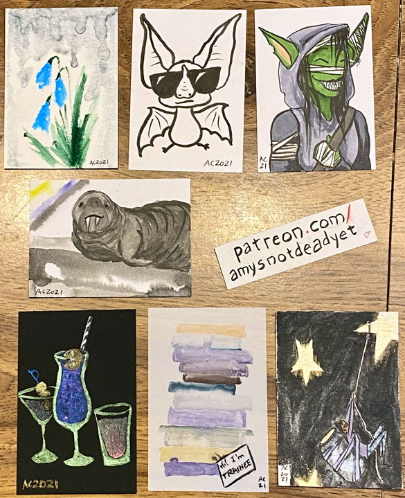 7 small sketch cards by Amy Crook