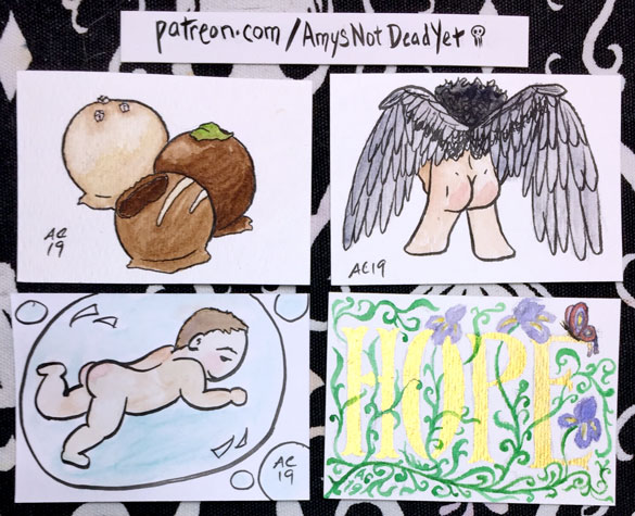 drawings of chocolate, castiel, bubble baby, and hope word art by Amy Crook