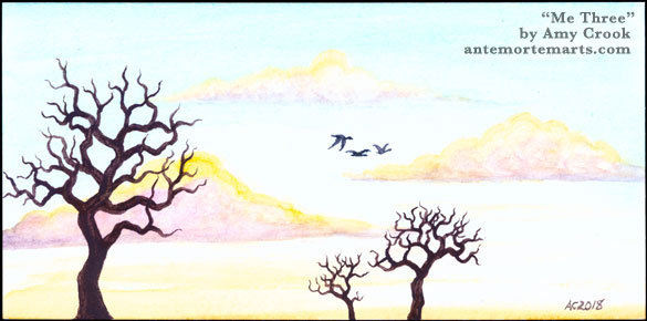 Me Three, watercolor horizon by Amy Crook