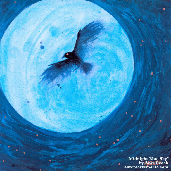 a watercolor painting on a metallic photo print of a blue moon, blue-black sky with copper stars, and a flying crow, by Amy Crook